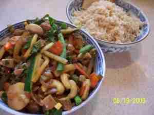 Kung Pao Seitan and brown jasmine rice
